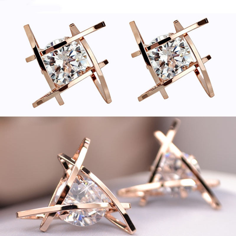 Fun Shaped Earrings - Utterly Unique Boutique - $4.99 - FREE SHIPPING - Finish getting ready by putting on these fun shaped stud earrings featuring a post backing, crystal and a square or triangle shape. Choose from gold plated or silver. From our Utterly Unique Boutique. Description: Type: Stud, Metal: Zinc Alloy, Shape: Square, Triangle, Backing: Post, Material: Crystal.