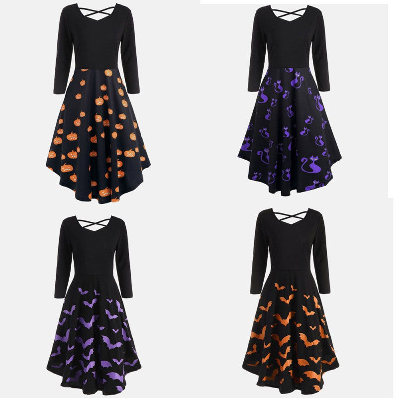 Halloween Dress - Utterly Unique Boutique - CURVY - $17.99 - A pumpkin, cat or bat gather around the bottom half of this vintage style dress, depending on the style you choose. It features a flared bottom, v-neckline, full sleeves, crisscross back, empire waistline and falls to the knee. Choose from 3 patterns from our Utterly Unique Boutique. Description: Material: Polyester, Style: Vintage, Pattern: Pumpkins, Cats Or Bats