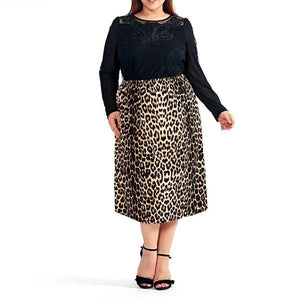 Leopard Print Skirt - CURVY - Utterly Unique Boutique - NEW - TRENDY - Keeping it wild, this beautiful leopard print skirt features a high, elastic waistline and falls below the knee. Pair with heels. Choose from brown or black. From our Utterly Unique Boutique. Description: Waist: High, Elastic, Material: Polyester, Spandex, Dress Length: Below Knee, Pattern: Leopard.
