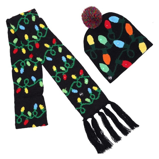 "LED Hat And Scarf Set - Utterly Unique Boutique - Only $15.99 - CUTE -  Oh what fun! This knitted scarf and hat will light up the party. Featuring LED lights and your choice of 4 different festive patterns. From our Utterly Unique Boutique. Description: Material: Cotton, Acrylic, Pattern: Print Fashion Element: LED, Hat: 8"" x 8"" (20 cm x 21 cm) Scarf: 4"" wide x 39"" long (11 cm wide x 100 cm long)."