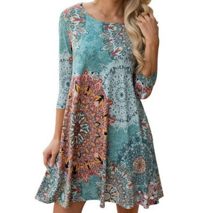 Cute Floral Dress - Unique Boutique - FREE SHIP - Multi-Color - COMFY - This cute floral dress has beautiful multi-colors swirling around it and features a scoop neckline, pockets, 3/4 sleeves, loose fit and falls above the knee. Pair with shoes, sandals or wedges. Choose from 6 patterns and colors. From our unique boutique. Description: Neckline: Scoop, Sleeve Length: Three-Quarter, Material: