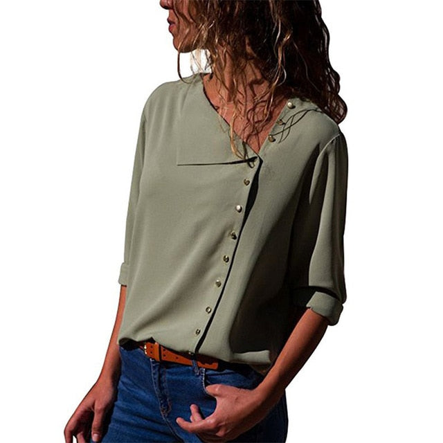 Front Side Button Top - Unique Boutique - TRENDY - $12.99 - FREE SHIP - NEW SIZES! This beautiful top is elegant and perfect for any occasion, it's sure to go with anything in your wardrobe. The stylish top features a flattering neckline, side buttons, full sleeves and comes in 9 popular colors. From our unique boutique. Description: Sleeve Length: Full, Material: Polyester, Cotton, Pattern: Solid, Closure: Buttons