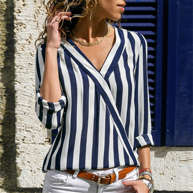 Long Sleeve Striped Blouse - Unique Boutique - $9.99 - CURVY SIZES TOO - This long, comfortable blouse looks pretty paired with jeans or pants. Featuring a full sleeve, v-neck and striped pattern. Choose from navy blue, red or black. From our unique boutique. Description: Pattern: Striped, Sleeve Length: Full, Collar: V-Neck, Fabric: Chiffon.