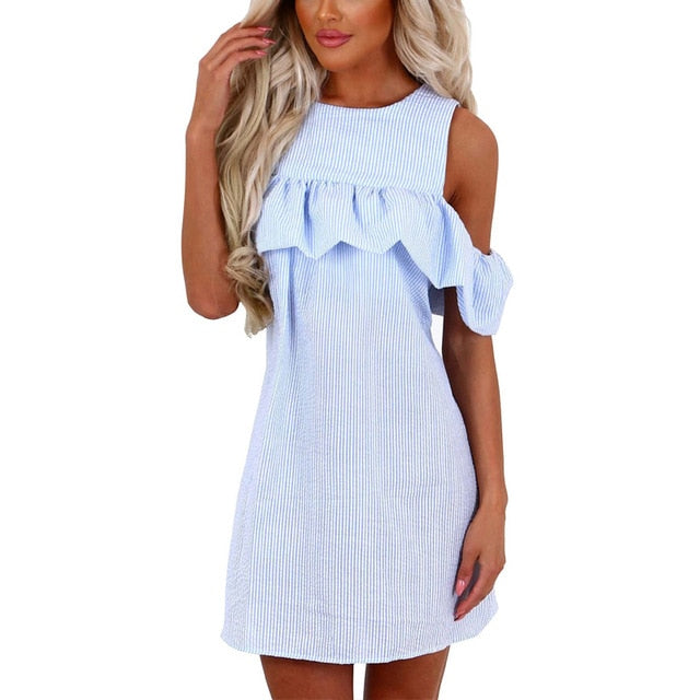 Off The Shoulder Striped Dress - Unique Boutique - $15.00 - SHIPS FREE - This off the shoulder striped dress is perfect for those hot days, it features above the knee in length, a crew neckline, short/off the shoulder sleeve, ruffles, zipper closure and a striped pattern. Choose from blue or pink. From our unique boutique. Description: Sleeve Style: Off The Shoulder, Pattern: Striped, Length: