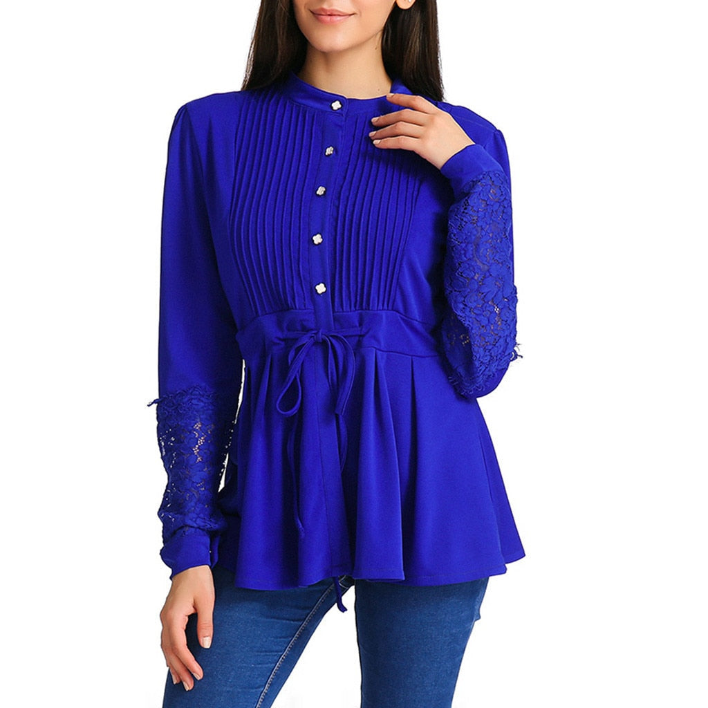 Ruched Peplum Blouse - Unique Boutique - CUTE - FREE SHIP - $19.99 - Pair this super cute ruched peplum blouse with jeans for a casual look or pants for a dressier look. This flattering blouse features a full sleeve, decorative buttons, hollow out sleeves, a front tie and flared bottom. Choose from blue, red or black. From our unique boutique. Description: Fabric: Broadcloth, Sleeve Length: Full