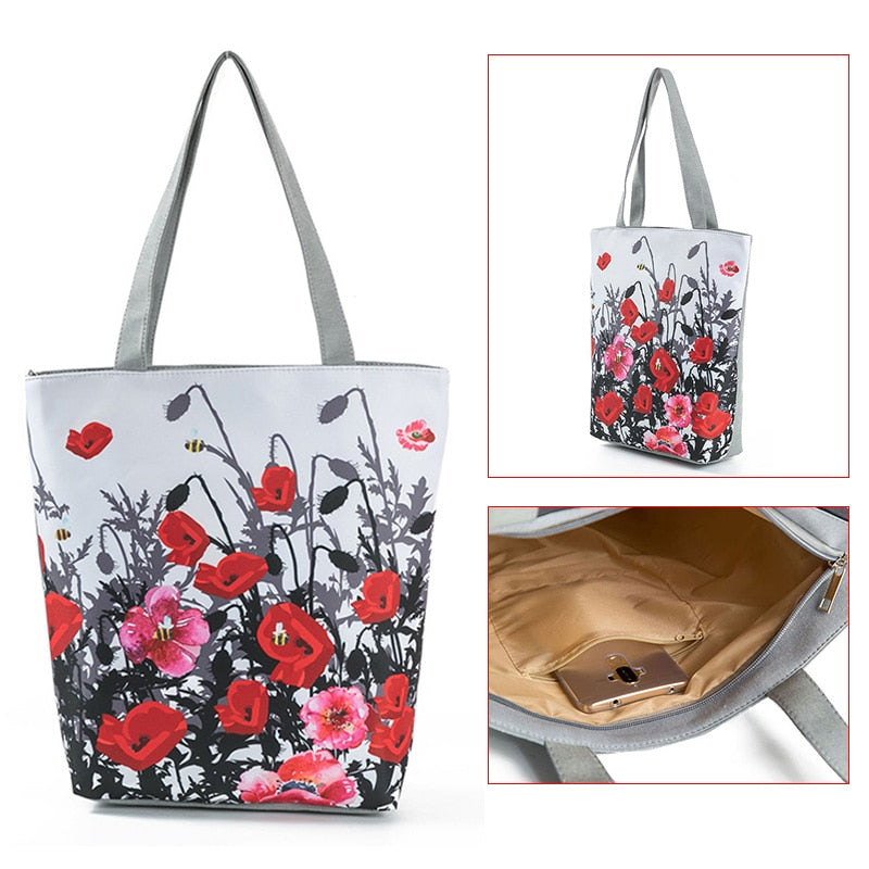 Printed Shoulder Bag - Fab Handbags & Accessories - $12.99 - FREE SHIP - Jump into the season with this colorful floral printed shoulder bag, large enough to hold all your essentials. Featuring two straps, an interior zipper pocket, a beautiful floral print and zipper closure. Choice of 4 patterns. From our fabulous handbags and accessories. Description: Material: Canvas, Lining: Polyester, Number