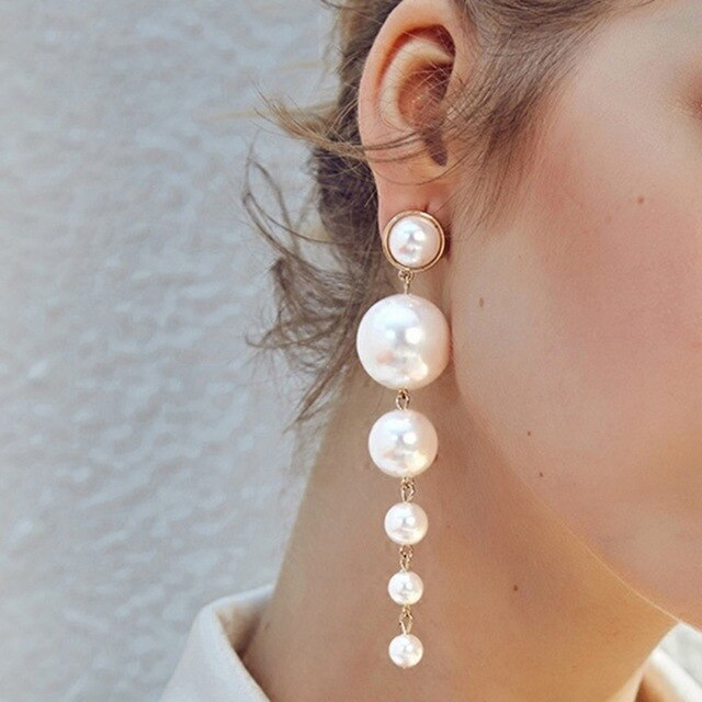 Long Simulated Pearl Earrings