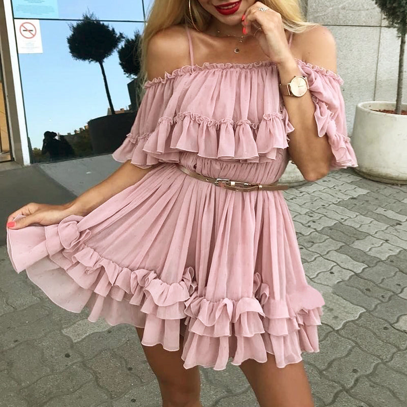 Frilly Chiffon Dress - Utterly Unique Boutique - TRENDY - SHIPS FREE - Cute and flouncy, show your feminine side in this frilly chiffon dress. Featuring a fit and flare silhouette, solid pattern, adjustable spaghetti straps, tiered ruffles, off the shoulder, pleats, above the knee in length, short sleeves, a slash neckline and is lined. Choose from blue, pink or beige. From our Utterly Unique