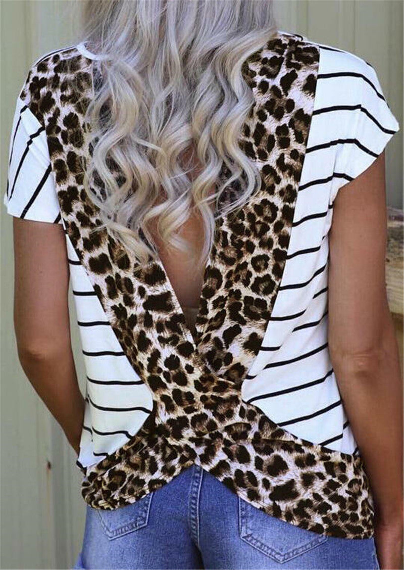 This Striped Leopard Top is so stylish and fun, it will soon become your favorite. It features short sleeves, a crew neckline, deep V-back, striped pattern with a wide criss-cross leopard pattern on the back. Delivery 4-13 days. From our unique boutique. Description: Material: Cotton, Sleeve Length: Short, Pattern: Leopard, Striped, Collar: Crew, Fashion Element: V-Back, Criss-Cross Design.