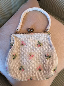 Vintage Corde Bead Floral Evening Bag