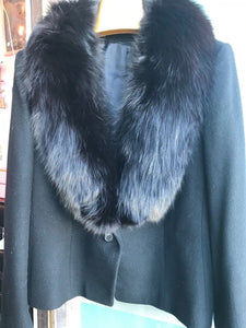 Black Cashmere with Fox Fur Collar Jacket