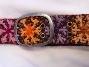 "Multi Color Embroidered 2"" Wool Belt"