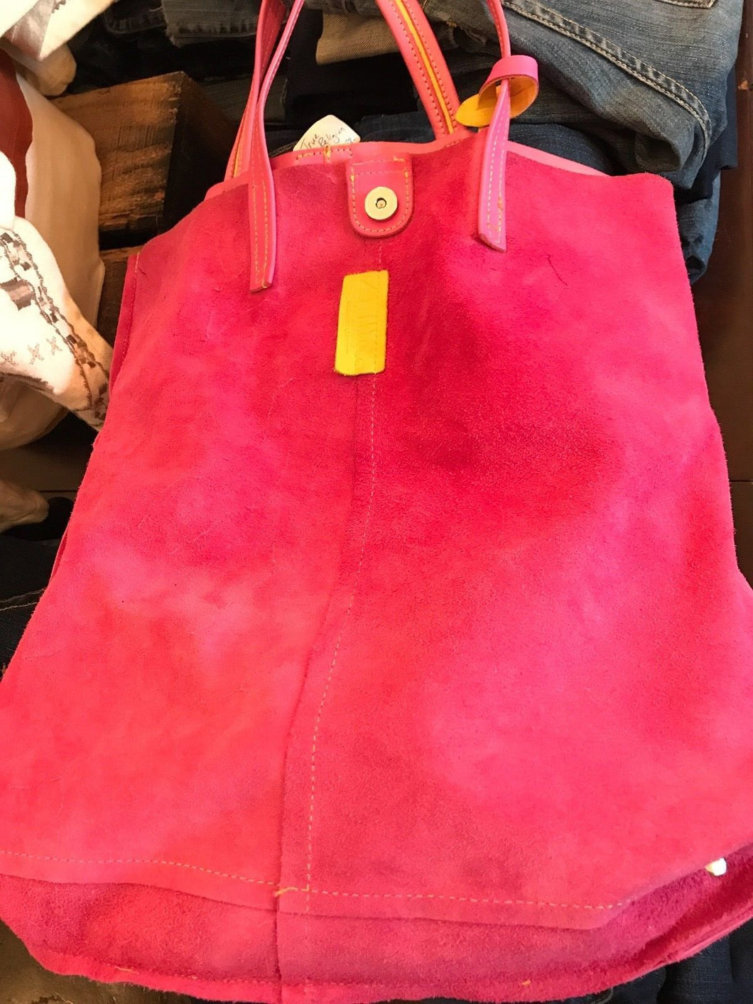 Pink Leather/Suede Reversible Tote