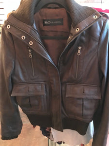 Brown Leather Bomber