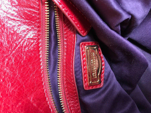 Distressed Large Red Leather Messenger Bag