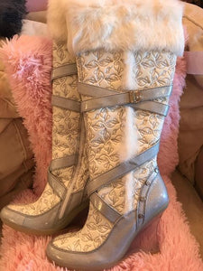 "Silver Fur 14"" Roll Top Boots"