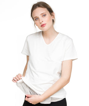 Belly Tee in White - Showing Fabric