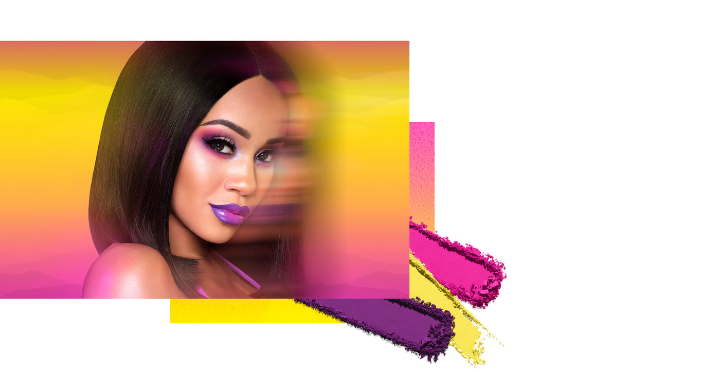 Saweetie with motion blur on purple yellow gradient background with swatches