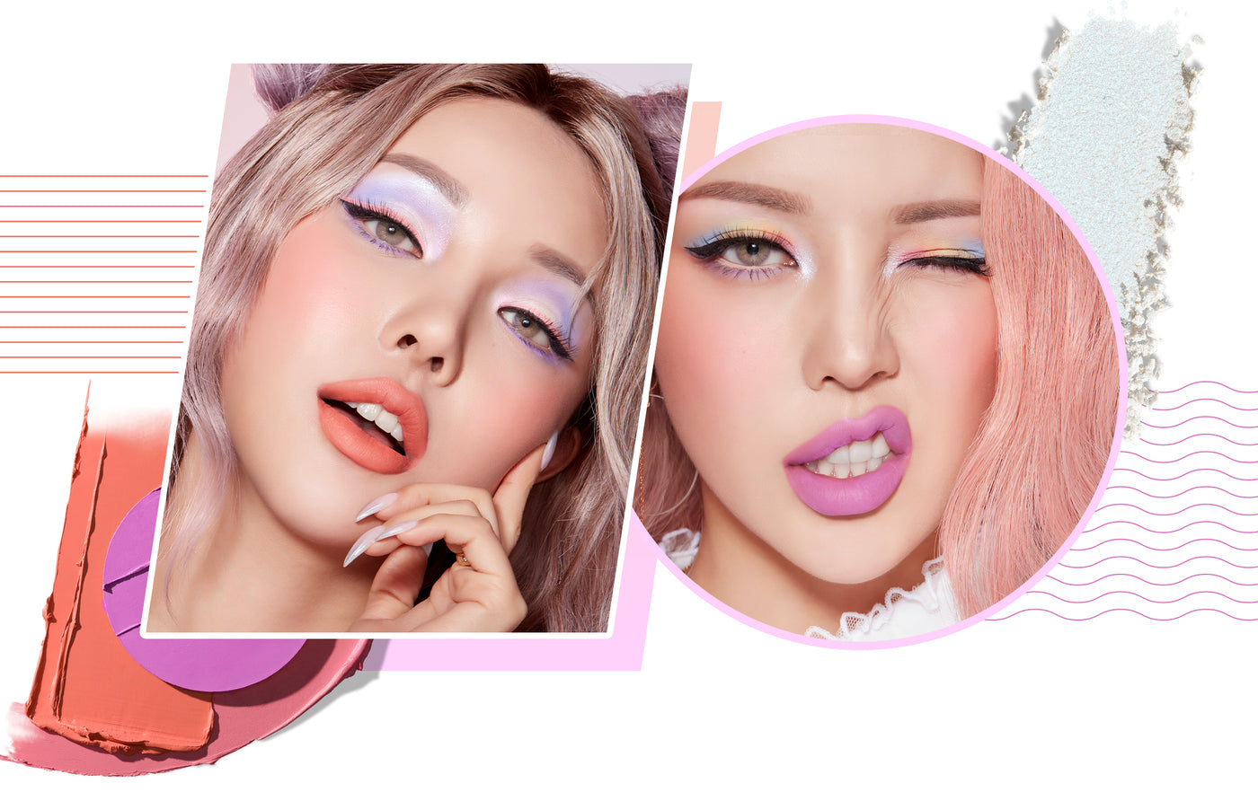 2 Pony Park makeup looks using Icy Fantasy Collection, makeup smears and geometric shapes