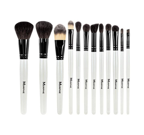 BLACK AND WHITE 12-PIECE TRAVEL SET BRUSHES