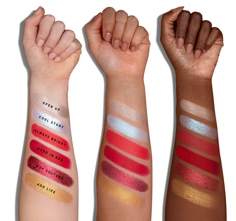 COCA-COLA X MORPHE THIRST FOR LIFE ARTISTRY PALETTE ARM SWATCHES