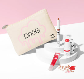 DIXIE'S GO-TO FAVES 3-PIECE MAKEUP SET + BAG