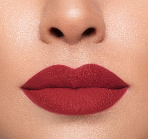 Mega Matte Morphe lipstick on fair complexion model