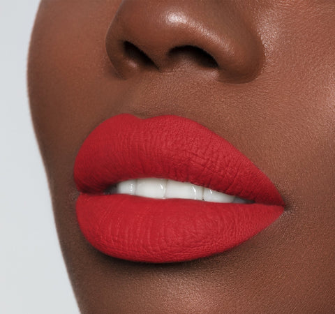 Mega Matte Morphe lipstick on deep complexion model