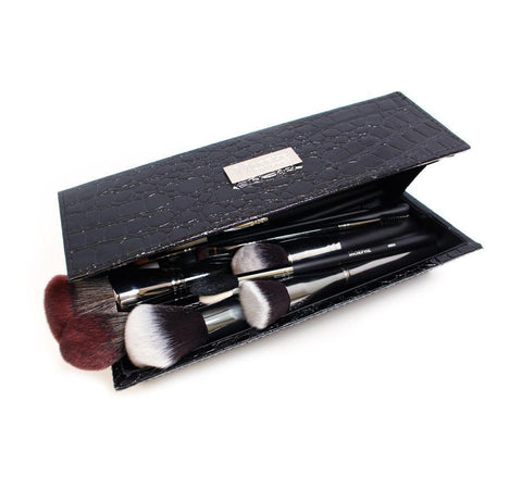 HH- SQUARE SNAKESKIN CASE WITH BRUSHES