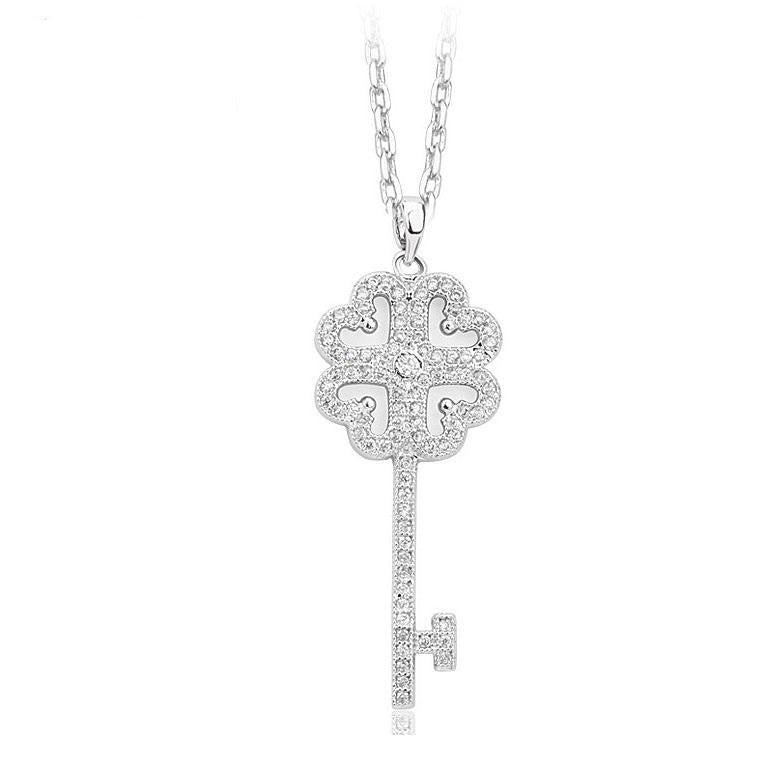 Key Necklace in Cubic Zirconia- Treasure - PoetryDesigns