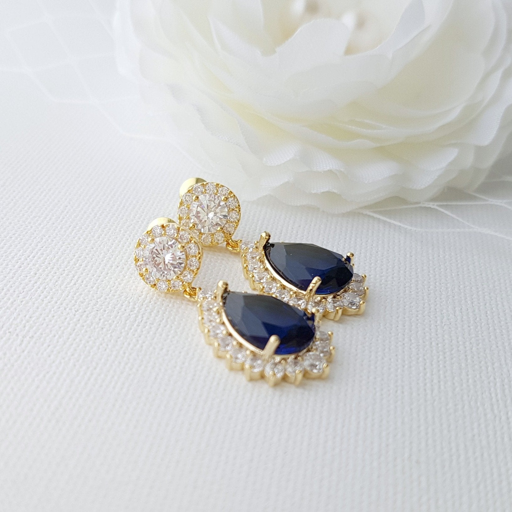 Blue and Gold Earrings Aoi - PoetryDesigns