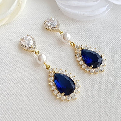 Sapphire Blue Drop Earrings Rose Gold- Aoi
