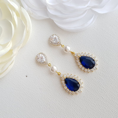 Dark Blue Pearl and Crystal Earrings