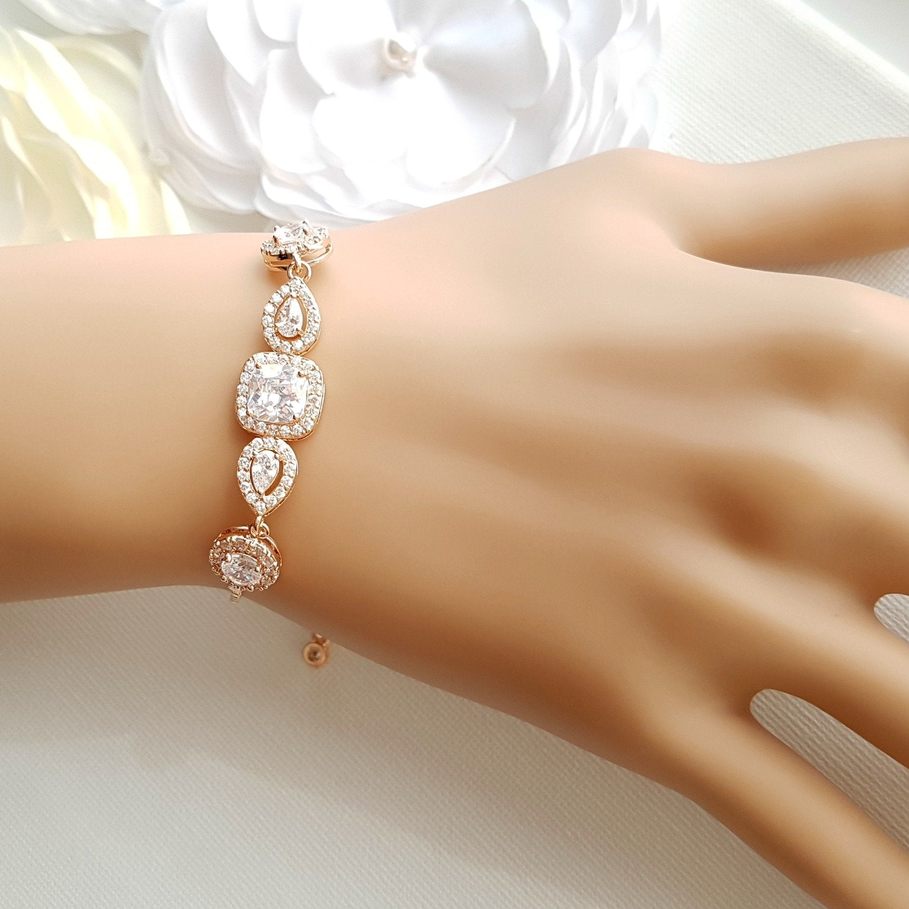 Gold & Crystal Bridal Bracelet- Gianna - PoetryDesigns