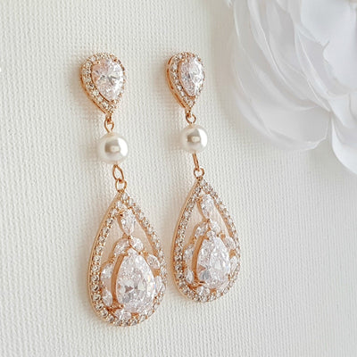 Long Rose Gold Clip On Earrings for Weddings with Pearls & Crystals-Esther