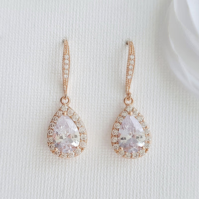 Crystal Dangle Earrings in Rose Gold-Emma
