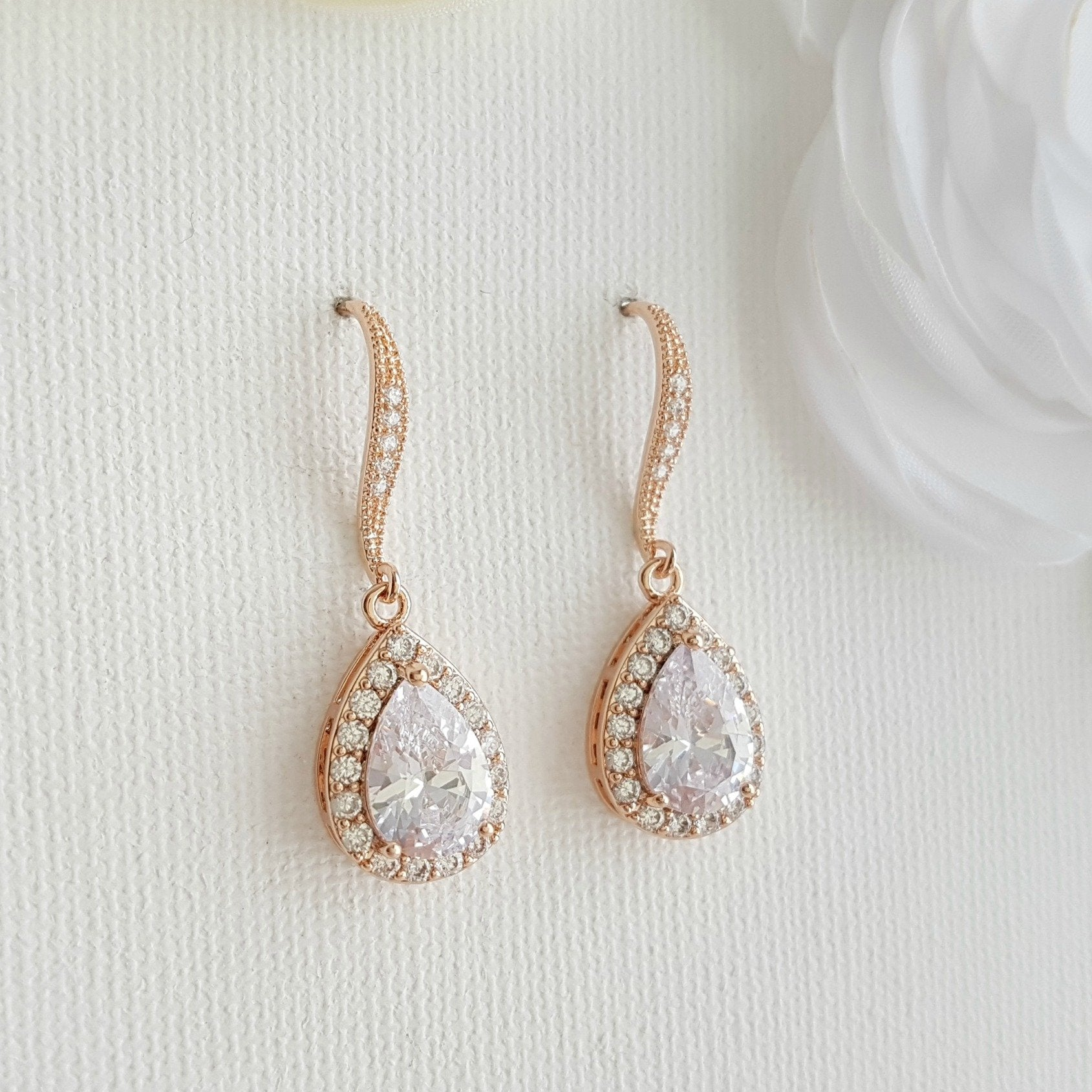 Crystal Dangle Earrings in Rose Gold-Emma - PoetryDesigns
