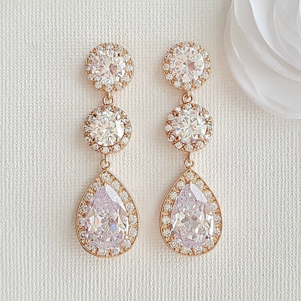 Cubic Zirconia Rose Gold Earrings-Evita
