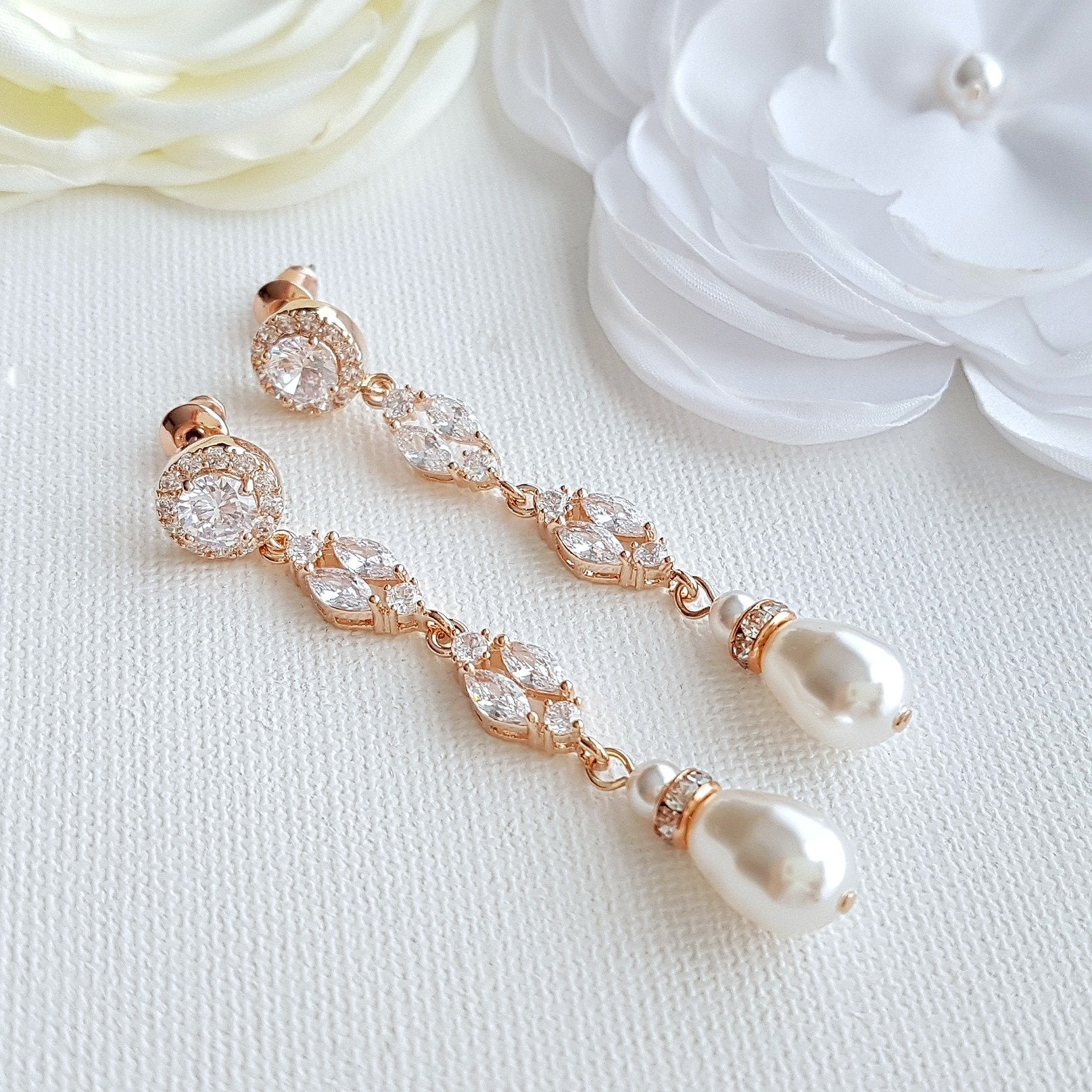 Long Rose Gold Clip On Wedding Earrings- Hayley