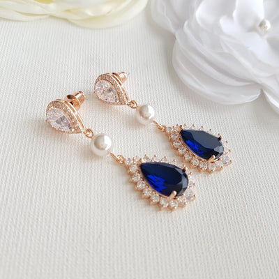 Blue drop rose gold earrings