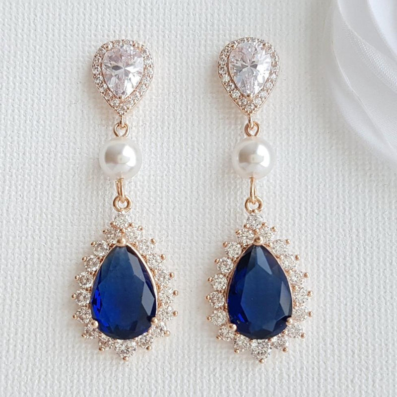 Sapphire blue drop earrings Rose gold