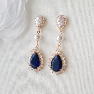 Blue Crystal Earrings Gold-Aoi