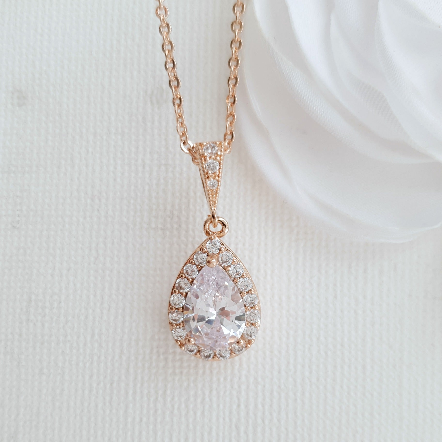 Rose Gold Necklace Bridal Clear Cubic Zirconia Small Teardrop Pendant Wedding Necklace Bridal Jewelry, Emma