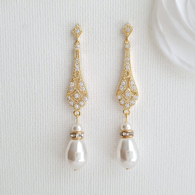Vintage Wedding Earrings in Gold-Lisa