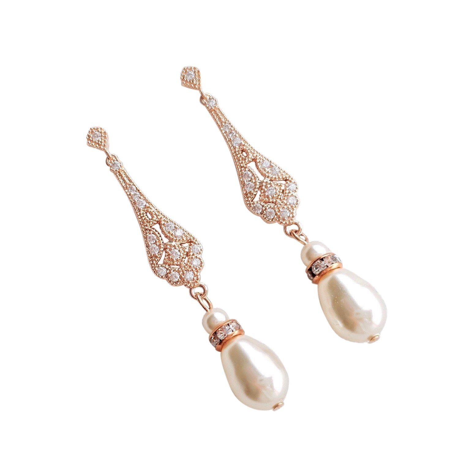 Vintage Style Rose Gold Bridal Earrings-Lisa