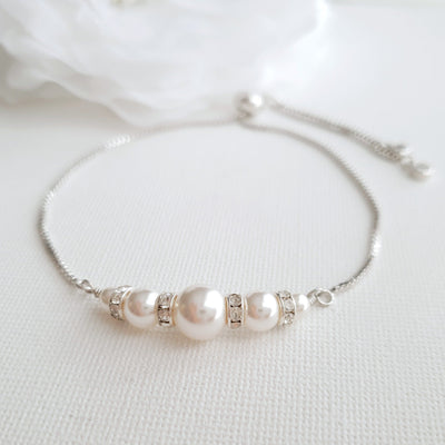 Adjustable Swarovski Pearl Bracelet for Weddings
