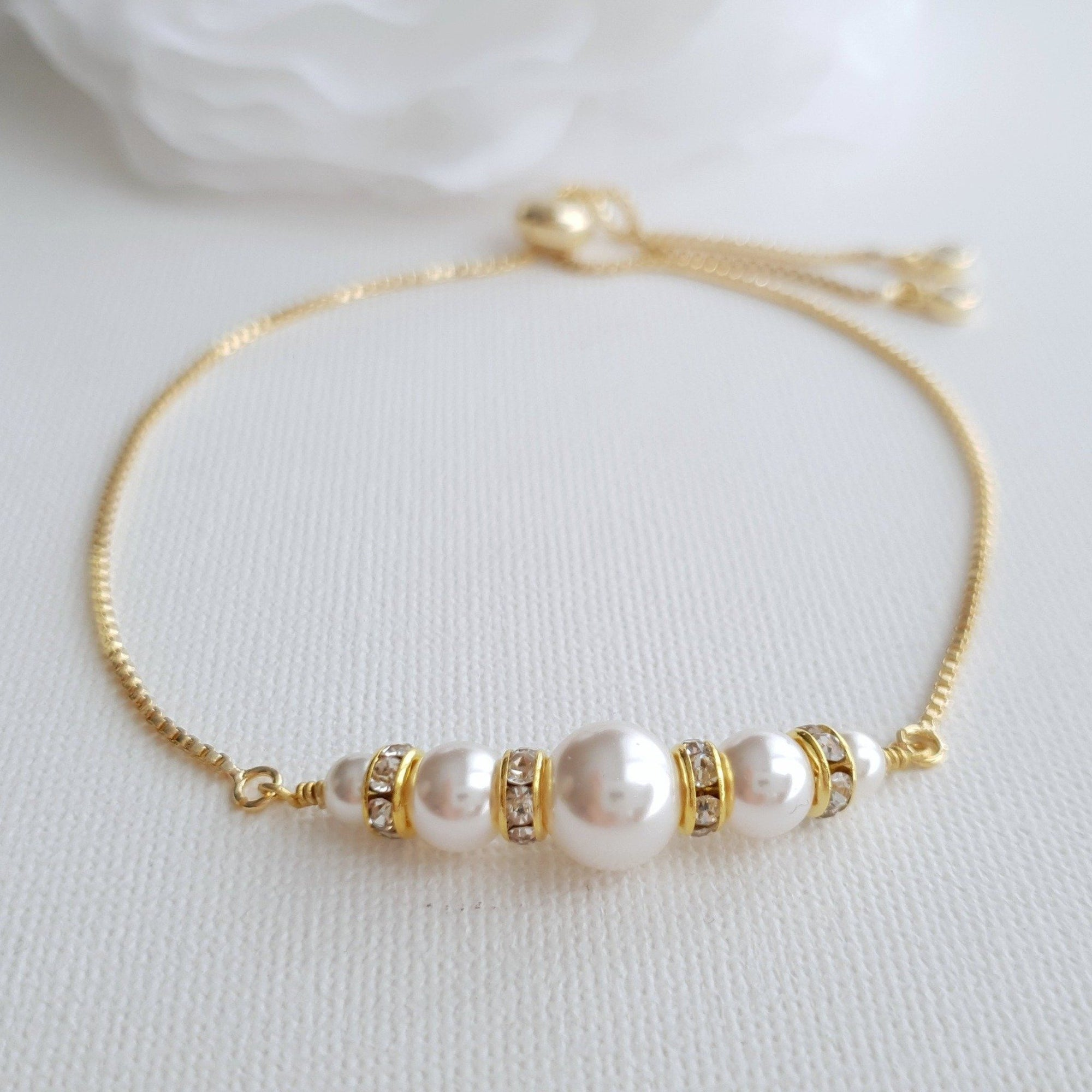Gold and Pearl Bracelet With Sliders & Adjustable