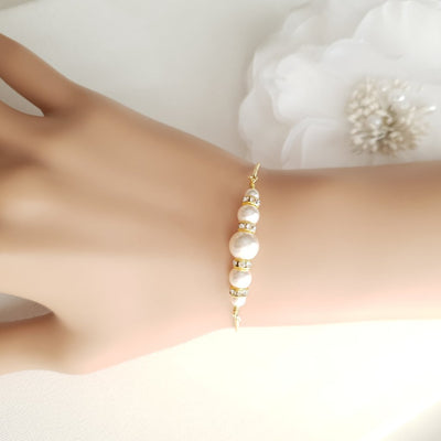 Gold Pearl Bracelet for Weddings & Events