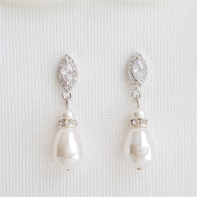 Rose Gold Pearl Teardrop Earrings for Brides- Ella