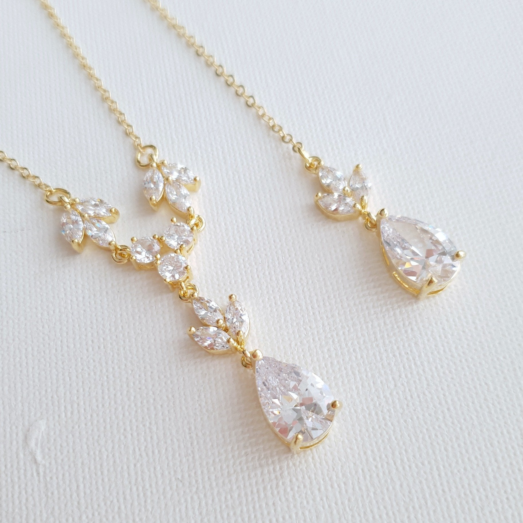 Wedding Necklace Set with Earrings & Bracelet-Gold- Leila - PoetryDesigns